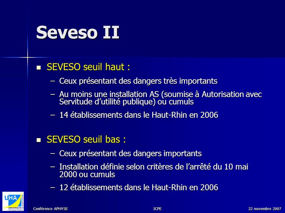 Conférence APHYSE 22 novembre 2007ICPE Seveso II SEVESO seuil haut : SEVESO seuil haut : –Ceux présentant des dangers très importants –Au moins une in