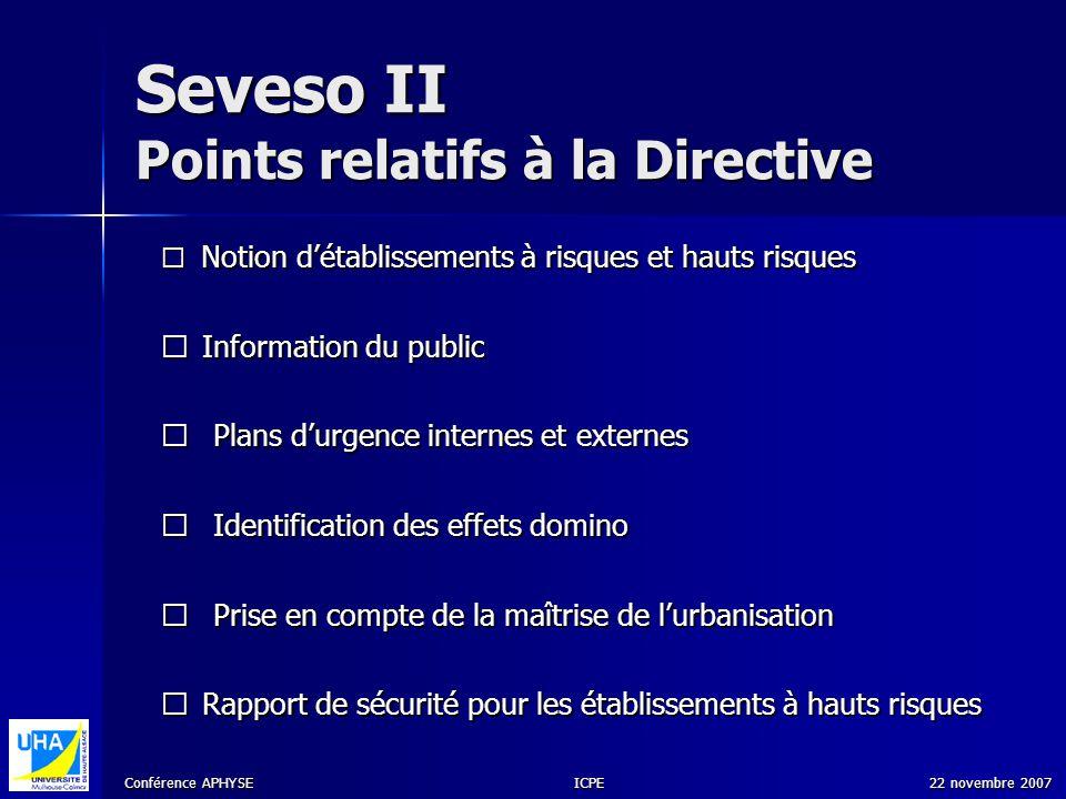Conférence APHYSE 22 novembre 2007ICPE Seveso II Points relatifs à la Directive Notion détablissements à risques et hauts risques Notion détablissemen