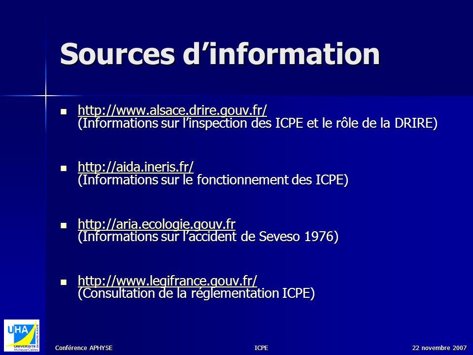 Conférence APHYSE 22 novembre 2007ICPE Sources dinformation http://www.alsace.drire.gouv.fr/ (Informations sur linspection des ICPE et le rôle de la D