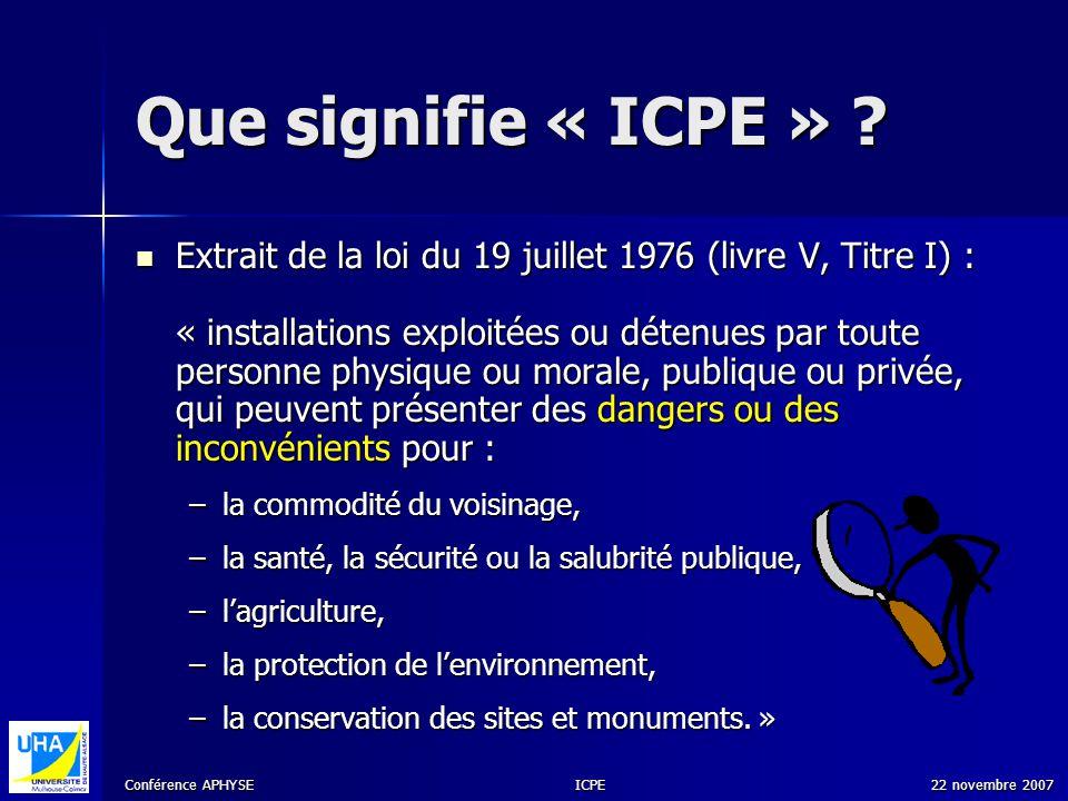 Conférence APHYSE 22 novembre 2007ICPE Que signifie « ICPE » ? Extrait de la loi du 19 juillet 1976 (livre V, Titre I) : « installations exploitées ou