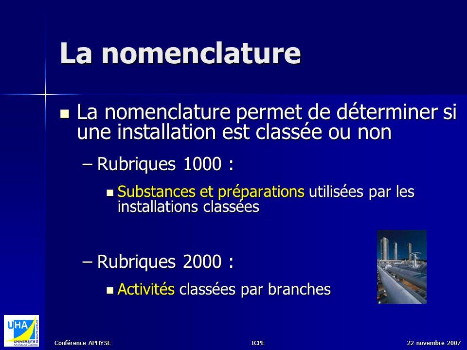 Conférence APHYSE 22 novembre 2007ICPE La nomenclature La nomenclature permet de déterminer si une installation est classée ou non La nomenclature per
