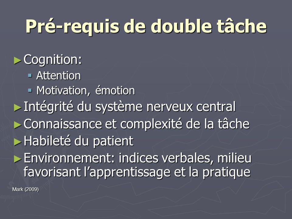 Pré-requis de double tâche Cognition: Cognition: Attention Attention Motivation, émotion Motivation, émotion Intégrité du système nerveux central Inté