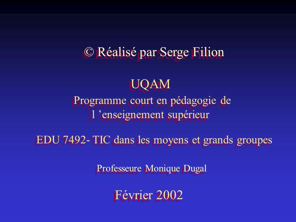 © Réalisé par Serge Filion UQAM Programme court en pédagogie de l enseignement supérieur Professeure Monique Dugal Février 2002 EDU 7492- TIC dans les moyens et grands groupes