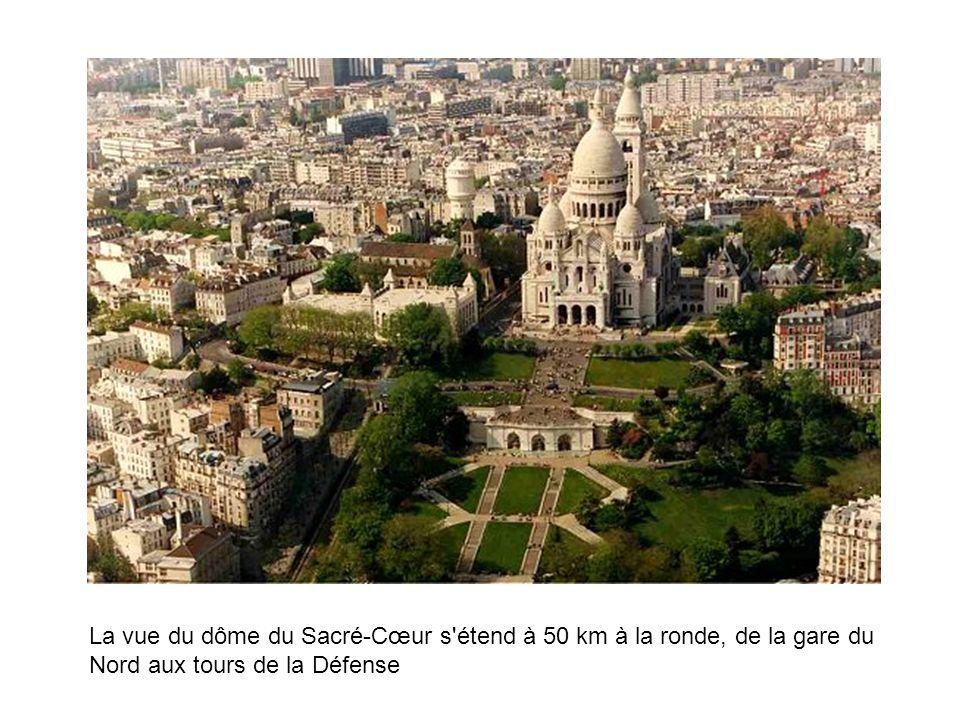 La vue du dôme du Sacré-Cœur s'étend à 50 km à la ronde, de la gare du Nord aux tours de la Défense