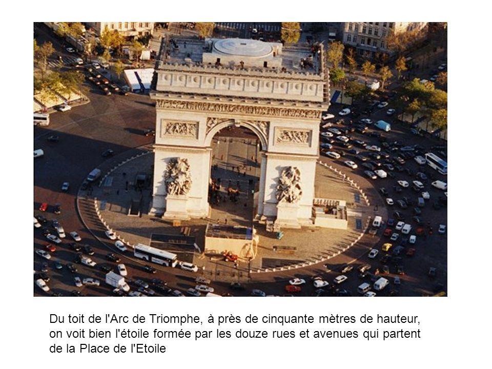 Du toit de l'Arc de Triomphe, à près de cinquante mètres de hauteur, on voit bien l'étoile formée par les douze rues et avenues qui partent de la Plac
