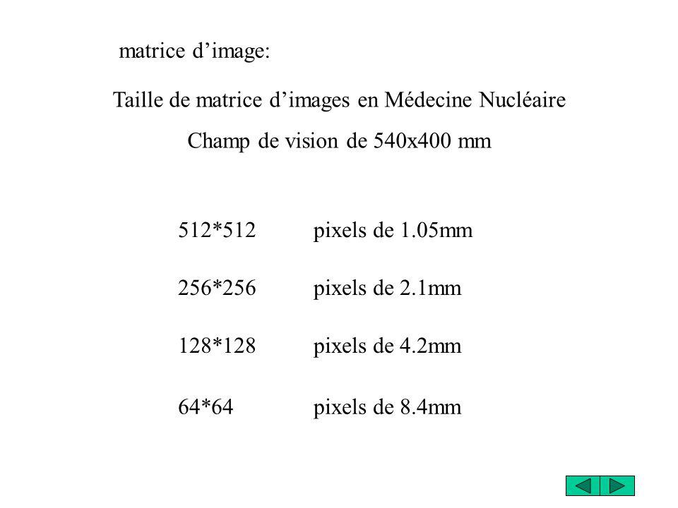 matrice dimage: Taille de matrice dimages en Médecine Nucléaire Champ de vision de 540x400 mm 512*512 pixels de 1.05mm 256*256 pixels de 2.1mm 128*128