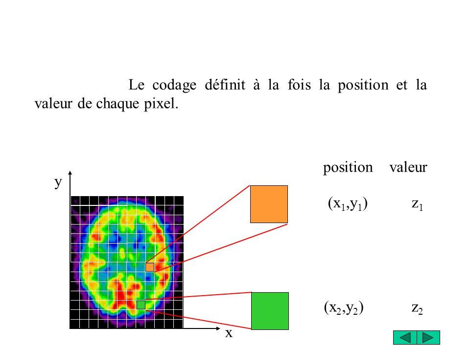 x y Le codage définit à la fois la position et la valeur de chaque pixel. (x 1,y 1 ) z 1 (x 2,y 2 ) z 2 position valeur