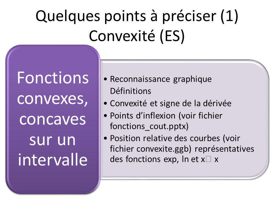 Reconnaissance graphique Définitions Convexité et signe de la dérivée Points dinflexion (voir fichier fonctions_cout.pptx) Position relative des courbes (voir fichier convexite.ggb) représentatives des fonctions exp, ln et x x Fonctions convexes, concaves sur un intervalle Quelques points à préciser (1) Convexité (ES)