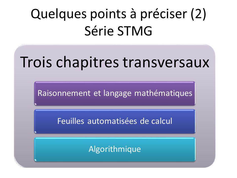 Trois chapitres transversaux Raisonnement et langage mathématiquesFeuilles automatisées de calculAlgorithmique Quelques points à préciser (2) Série STMG