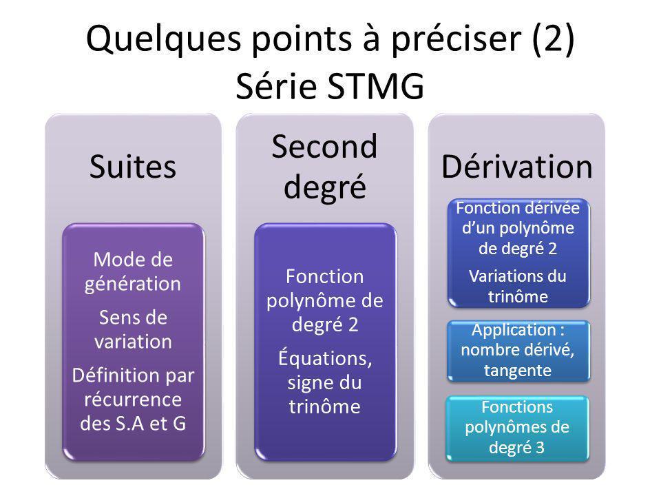 Suites Mode de génération Sens de variation Définition par récurrence des S.A et G Second degré Fonction polynôme de degré 2 Équations, signe du trinôme Dérivation Fonction dérivée dun polynôme de degré 2 Variations du trinôme Application : nombre dérivé, tangente Fonctions polynômes de degré 3 Quelques points à préciser (2) Série STMG