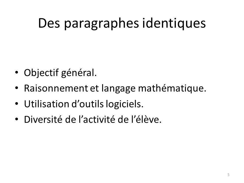 Des paragraphes identiques Objectif général. Raisonnement et langage mathématique.