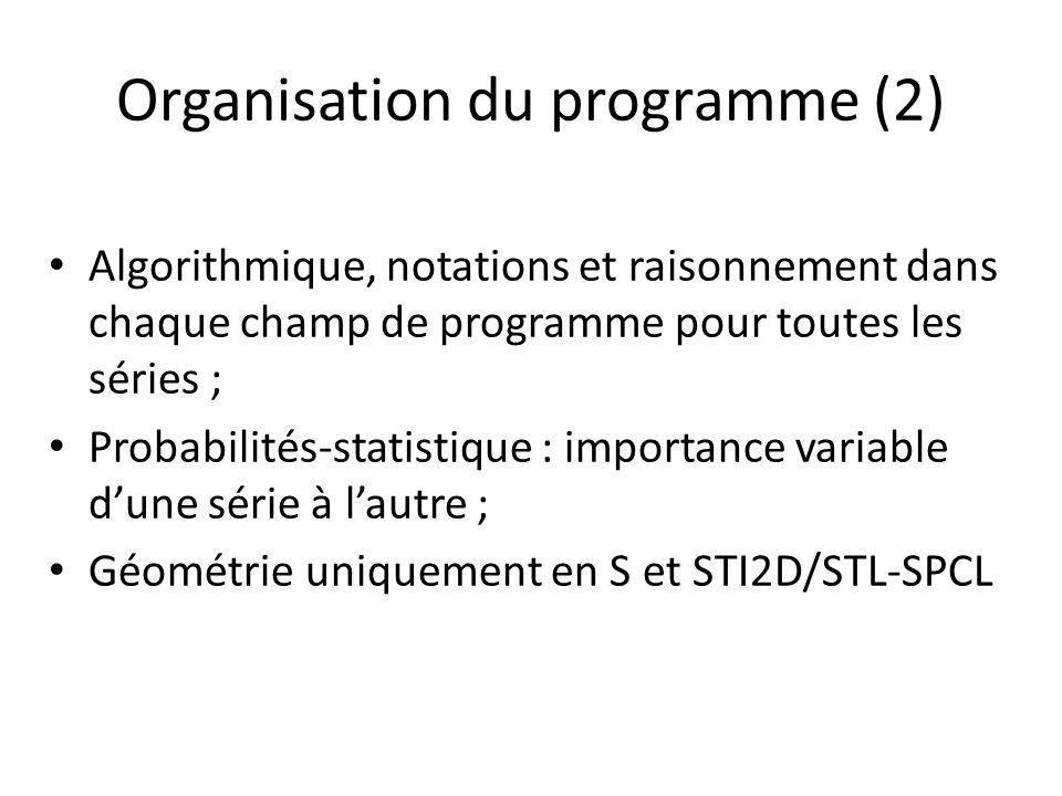 Organisation du programme (2) Algorithmique, notations et raisonnement dans chaque champ de programme pour toutes les séries ; Probabilités-statistique : importance variable dune série à lautre ; Géométrie uniquement en S et STI2D/STL-SPCL