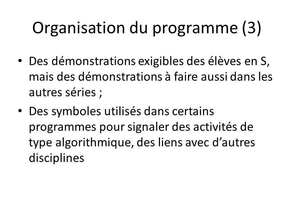 Organisation du programme (3) Des démonstrations exigibles des élèves en S, mais des démonstrations à faire aussi dans les autres séries ; Des symboles utilisés dans certains programmes pour signaler des activités de type algorithmique, des liens avec dautres disciplines