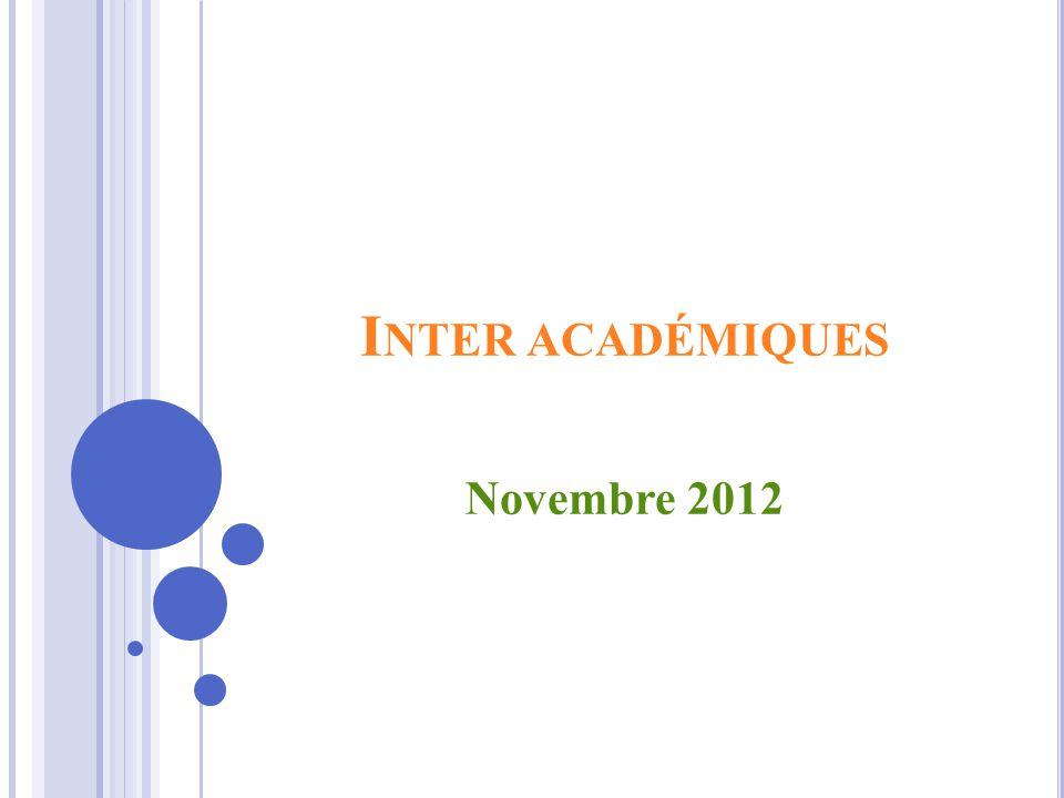 I NTER ACADÉMIQUES Novembre 2012