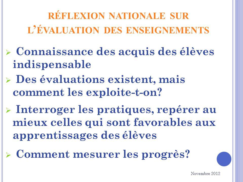 RÉFLEXION NATIONALE SUR L ÉVALUATION DES ENSEIGNEMENTS Connaissance des acquis des élèves indispensable Des évaluations existent, mais comment les exploite-t-on.