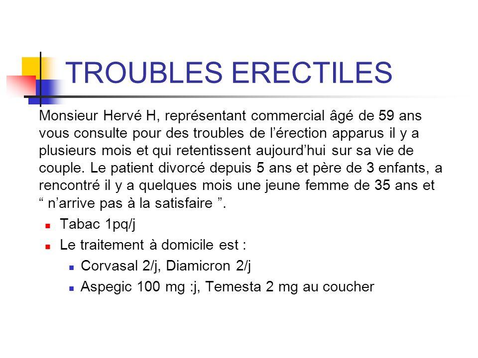 TROUBLES ERECTILES Monsieur Hervé H, représentant commercial âgé de 59 ans vous consulte pour des troubles de lérection apparus il y a plusieurs mois
