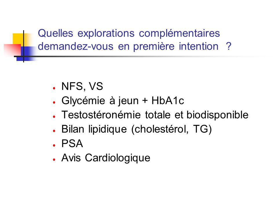 Quelles explorations complémentaires demandez-vous en première intention ? NFS, VS Glycémie à jeun + HbA1c Testostéronémie totale et biodisponible Bil