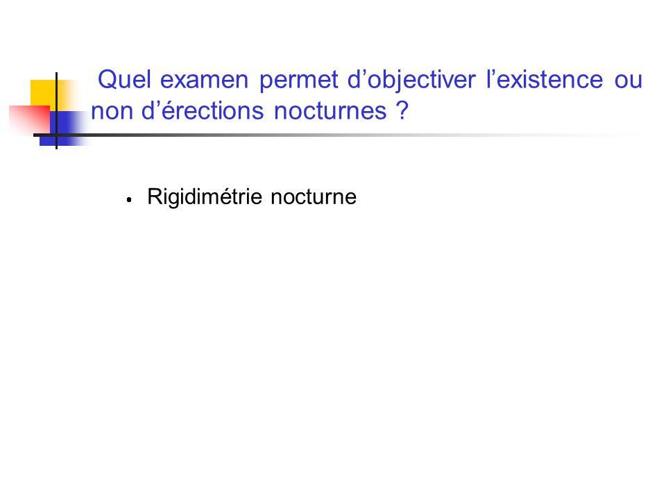 Quel examen permet dobjectiver lexistence ou non dérections nocturnes ? Rigidimétrie nocturne