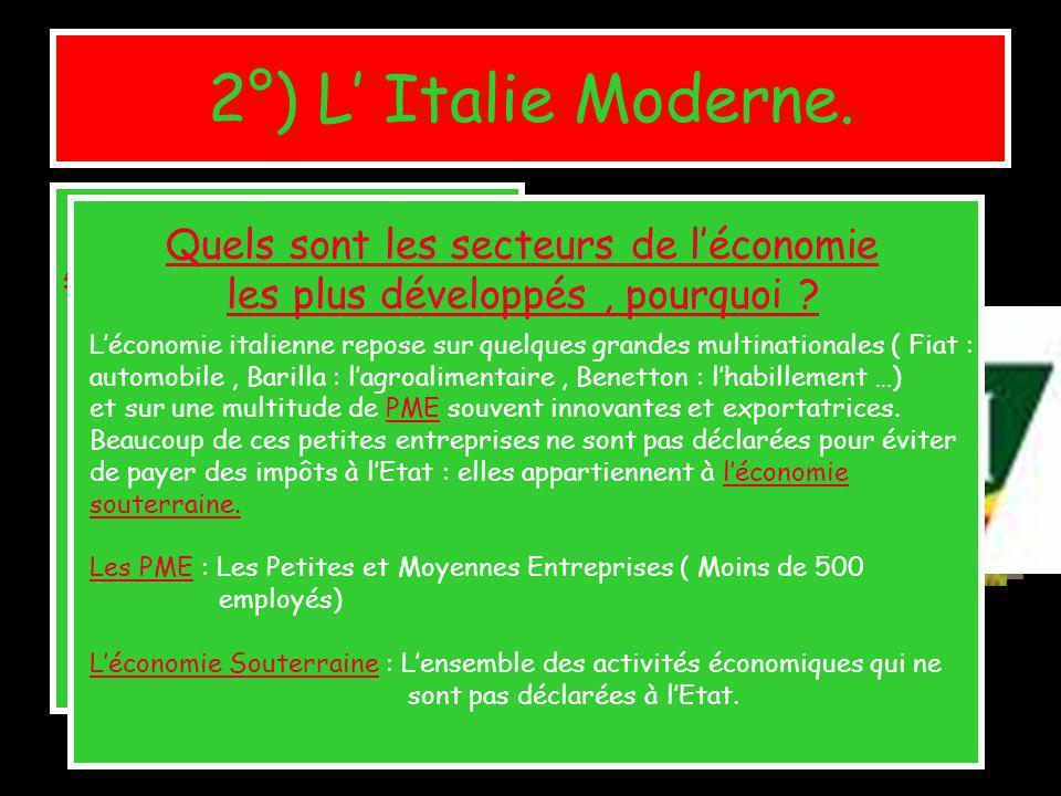 2°) L Italie Moderne. A°) Le développement du pays : P286.287. LItalie est la sixième puissance économique mondiale, la quatrième dEurope. Ses entrepr