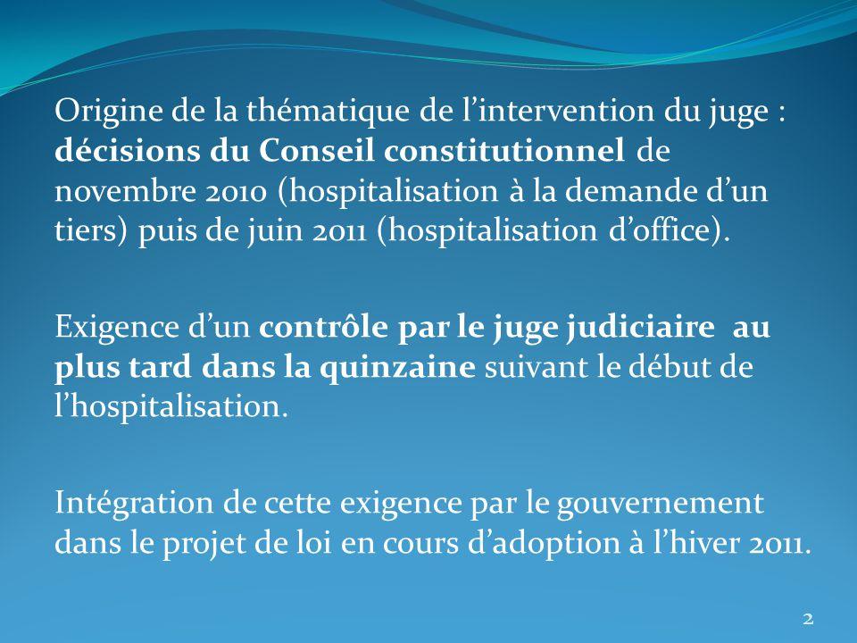 Origine de la thématique de lintervention du juge : décisions du Conseil constitutionnel de novembre 2010 (hospitalisation à la demande dun tiers) pui