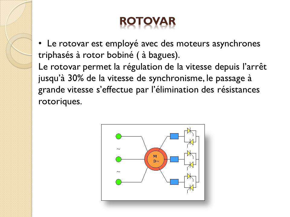 Le rotovar est employé avec des moteurs asynchrones triphasés à rotor bobiné ( à bagues). Le rotovar permet la régulation de la vitesse depuis larrêt