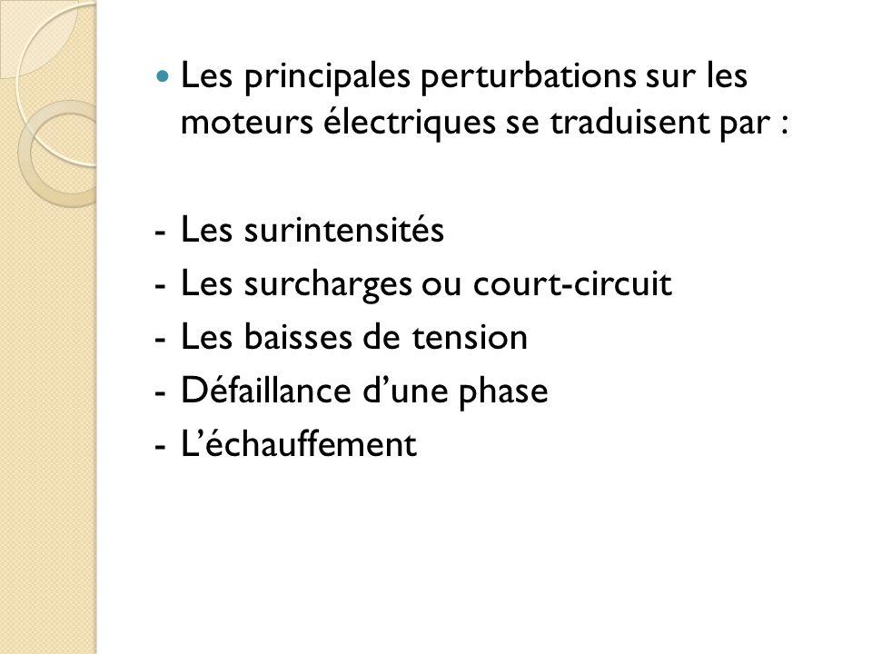 Les principales perturbations sur les moteurs électriques se traduisent par : -Les surintensités -Les surcharges ou court-circuit -Les baisses de tension -Défaillance dune phase -Léchauffement