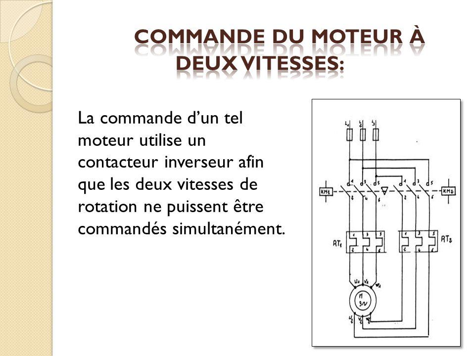 La commande dun tel moteur utilise un contacteur inverseur afin que les deux vitesses de rotation ne puissent être commandés simultanément.