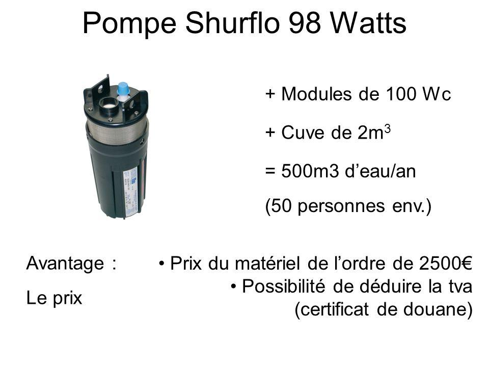 Pompe Lorentz 140 Watts Avantages : Durée de vie Boîtier de gestion + Modules de 240Wc Prix du matériel de lordre de 4000 Possibilité de déduire la tva (certificat de douane) + Cuve de 2m 3 = 1300m3 deau/an (130 personnes env.)