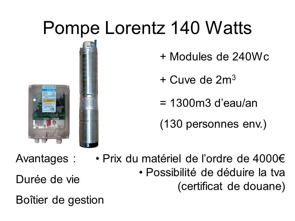 Pompe Lorentz 140 Watts Avantages : Durée de vie Boîtier de gestion + Modules de 240Wc Prix du matériel de lordre de 4000 Possibilité de déduire la tv