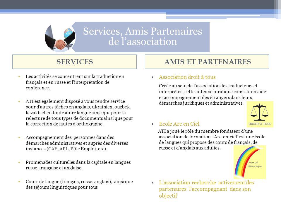 Services, Amis Partenaires de lassociation SERVICESAMIS ET PARTENAIRES Les activités se concentrent sur la traduction en français et en russe et l interprétation de conférence.
