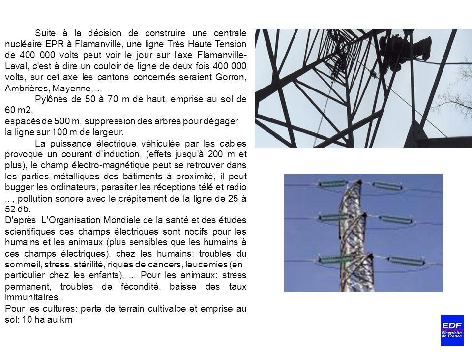 Suite à la décision de construire une centrale nucléaire EPR à Flamanville, une ligne Très Haute Tension de 400 000 volts peut voir le jour sur l'axe