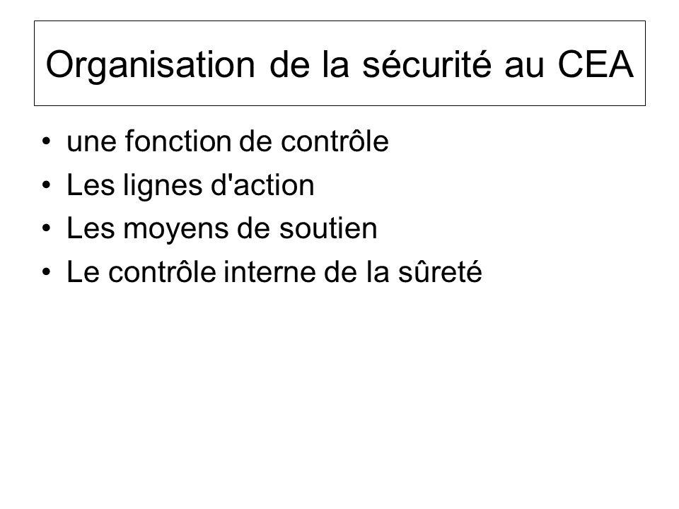 Organisation de la sécurité au CEA une fonction de contrôle Les lignes d'action Les moyens de soutien Le contrôle interne de la sûreté