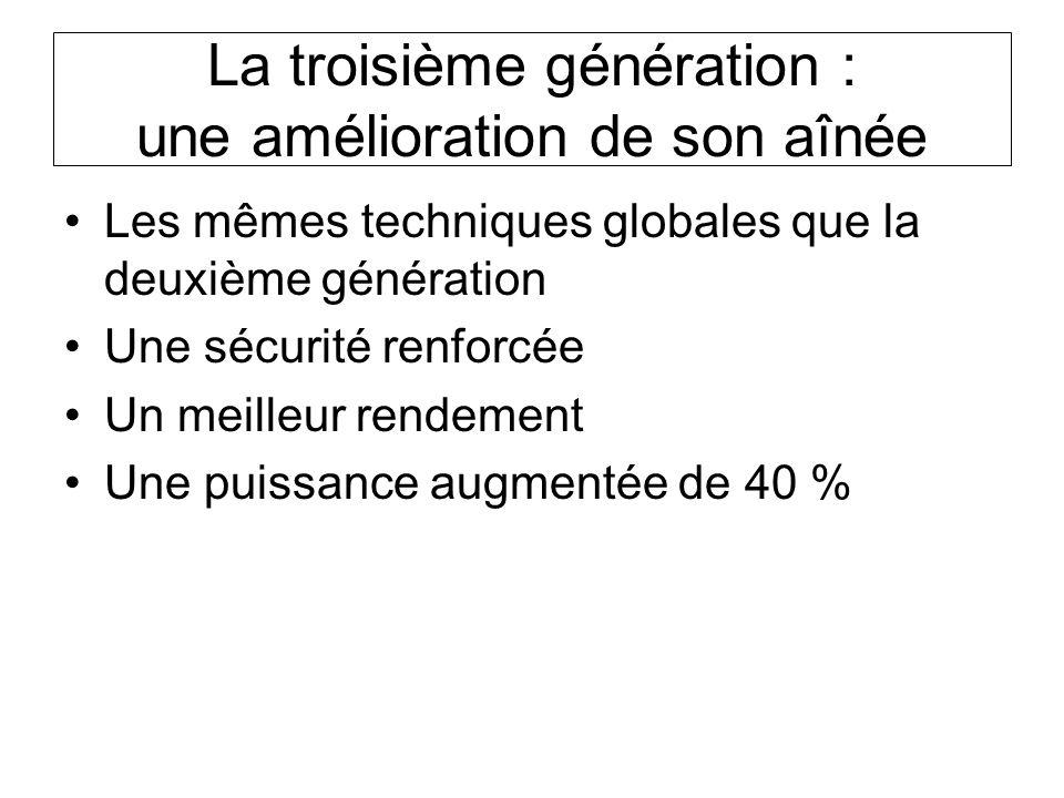 La troisième génération : une amélioration de son aînée Les mêmes techniques globales que la deuxième génération Une sécurité renforcée Un meilleur re