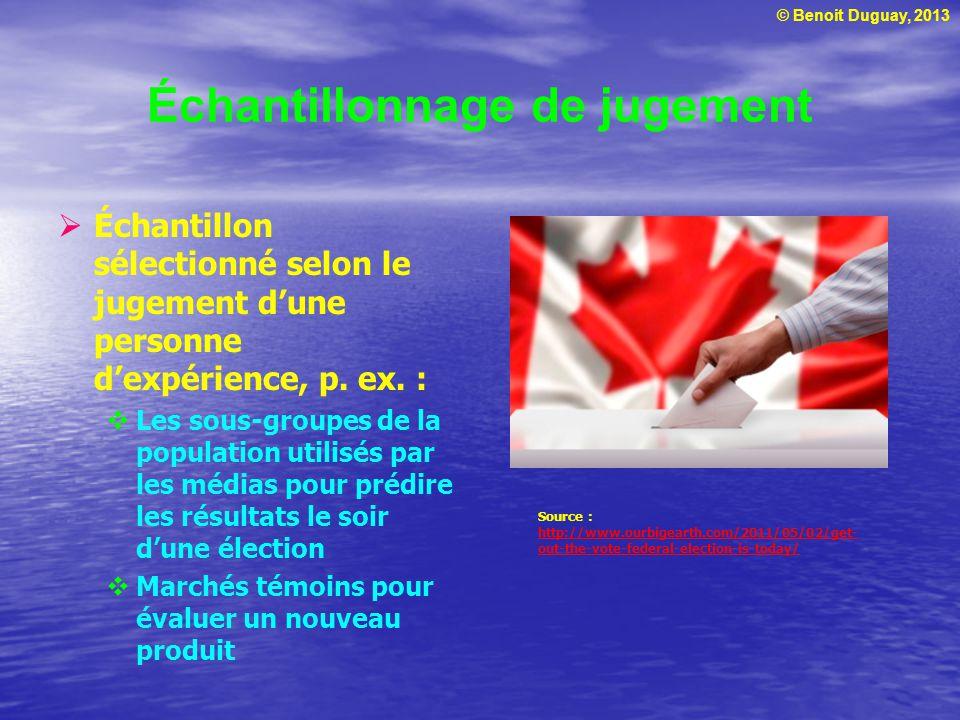© Benoit Duguay, 2013 Échantillonnage de jugement Échantillon sélectionné selon le jugement dune personne dexpérience, p. ex. : Les sous-groupes de la