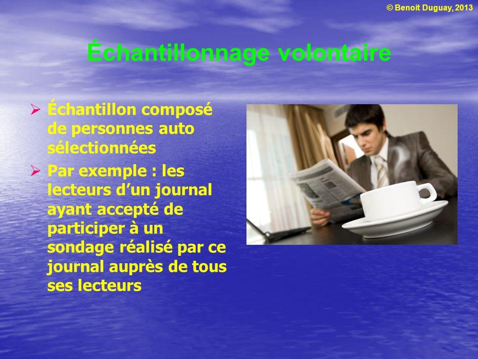 © Benoit Duguay, 2013 Échantillonnage volontaire Échantillon composé de personnes auto sélectionnées Par exemple : les lecteurs dun journal ayant acce