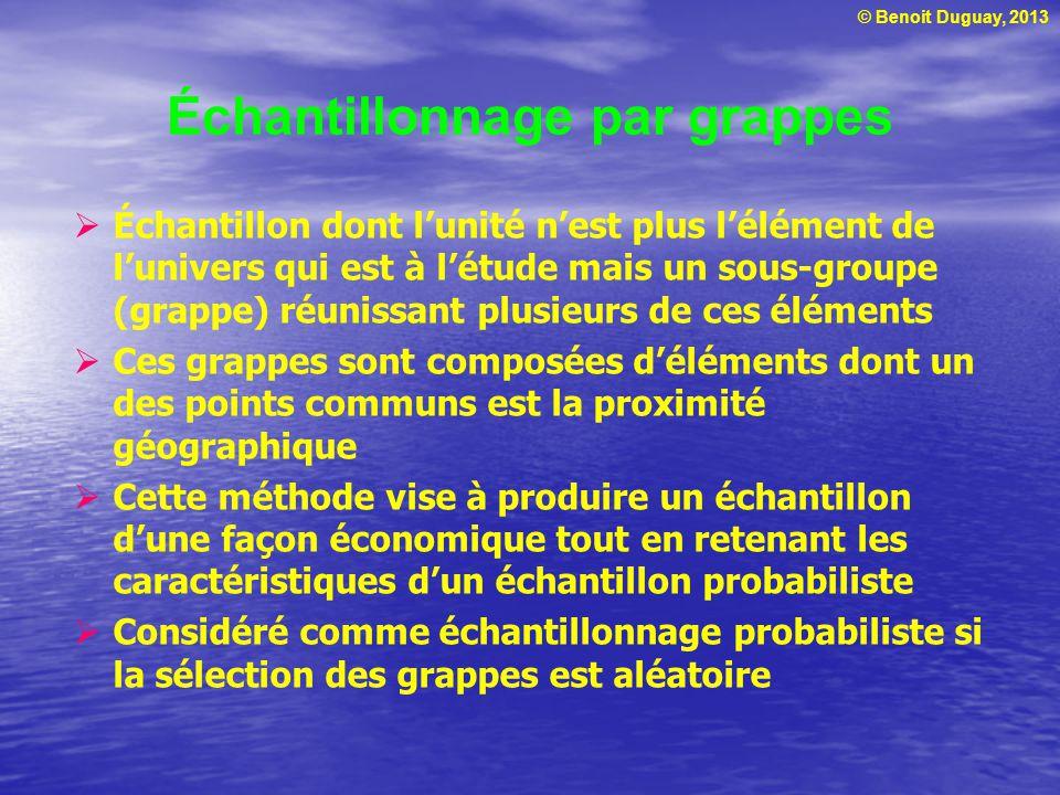 © Benoit Duguay, 2013 Échantillonnage par grappes Échantillon dont lunité nest plus lélément de lunivers qui est à létude mais un sous-groupe (grappe)
