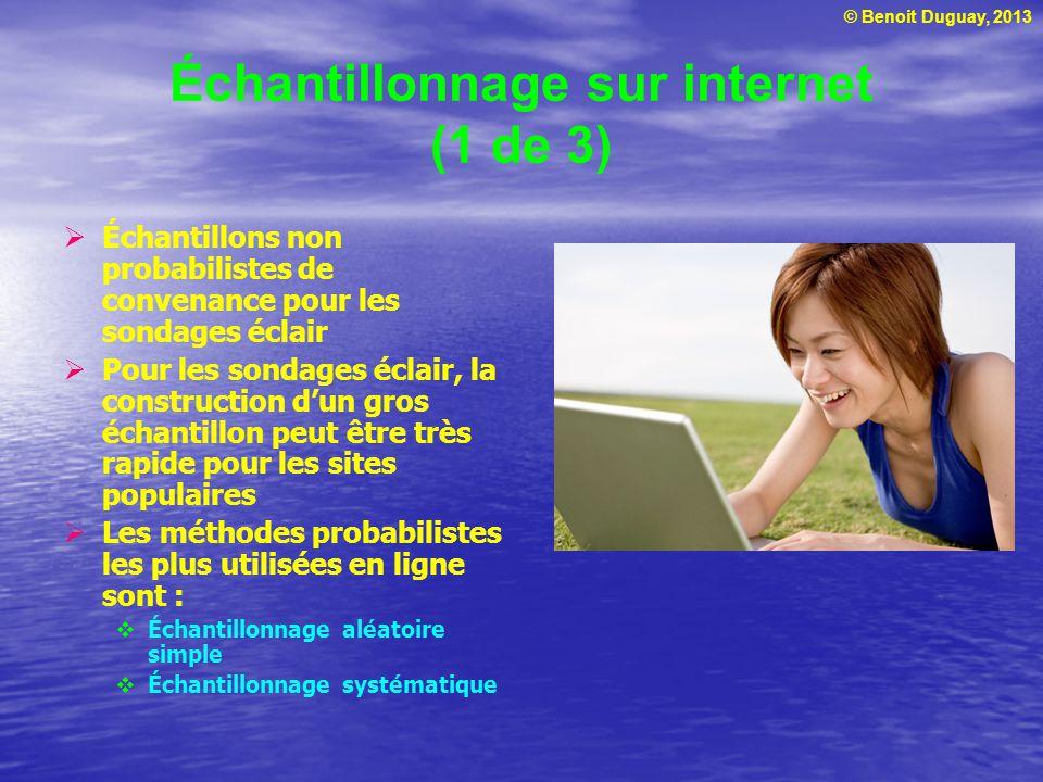 © Benoit Duguay, 2013 Échantillonnage sur internet (1 de 3) Échantillons non probabilistes de convenance pour les sondages éclair Pour les sondages éc