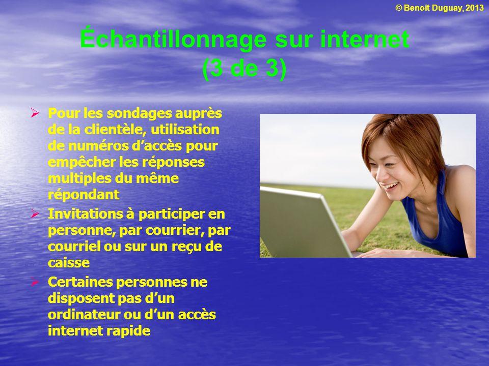 © Benoit Duguay, 2013 Échantillonnage sur internet (3 de 3) Pour les sondages auprès de la clientèle, utilisation de numéros daccès pour empêcher les