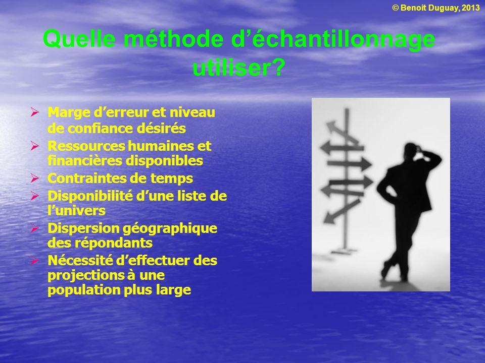 © Benoit Duguay, 2013 Quelle méthode déchantillonnage utiliser? Marge derreur et niveau de confiance désirés Ressources humaines et financières dispon