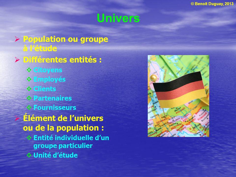 © Benoit Duguay, 2013 Univers Population ou groupe à létude Différentes entités : Citoyens Employés Clients Partenaires Fournisseurs Élément de lunive
