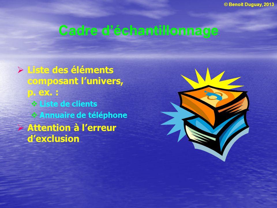 © Benoit Duguay, 2013 Cadre déchantillonnage Liste des éléments composant lunivers, p. ex. : Liste de clients Annuaire de téléphone Attention à lerreu