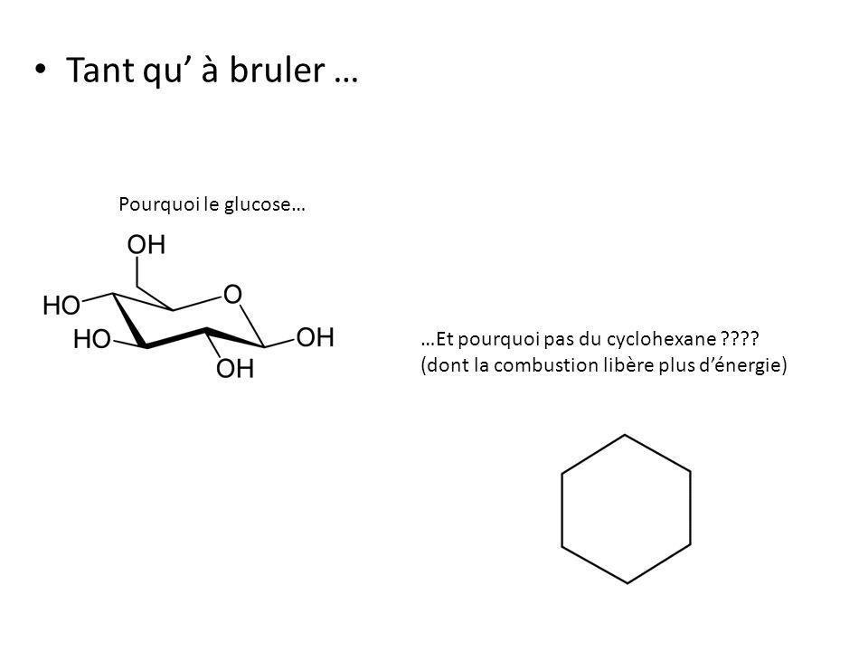 Tant qu à bruler … Pourquoi le glucose… …Et pourquoi pas du cyclohexane ???.