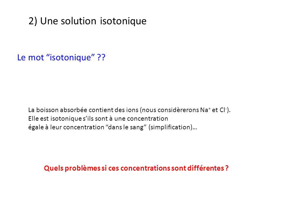 2) Une solution isotonique Le mot isotonique ?.