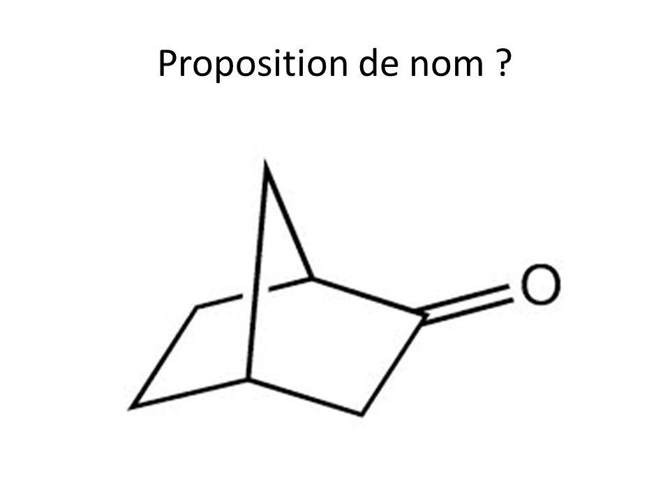 Le camphre Proposition de nom .(dérivant de norbornanone) Nombre de carbones asymétriques .