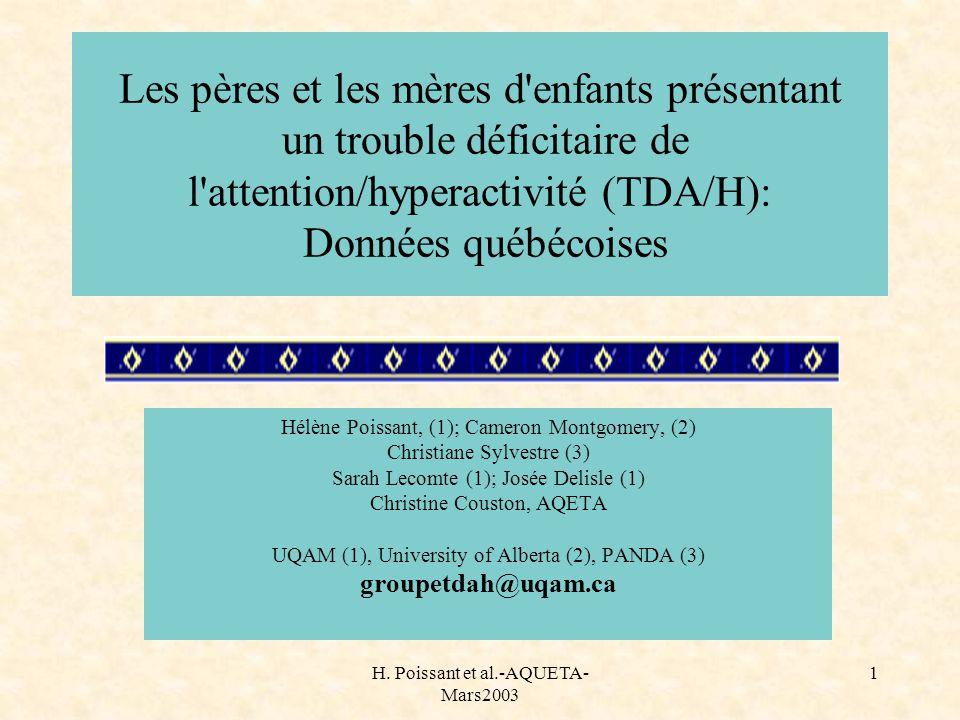 H. Poissant et al.-AQUETA- Mars2003 1 Les pères et les mères d'enfants présentant un trouble déficitaire de l'attention/hyperactivité (TDA/H): Données