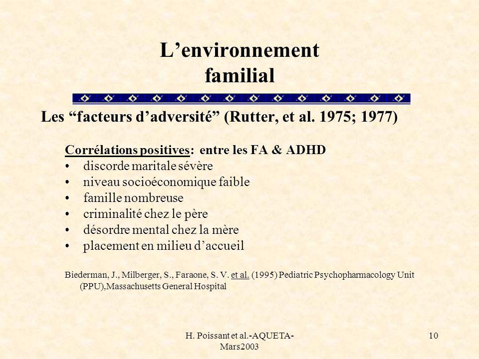 H. Poissant et al.-AQUETA- Mars2003 10 Lenvironnement familial Les facteurs dadversité (Rutter, et al. 1975; 1977) Corrélations positives: entre les F