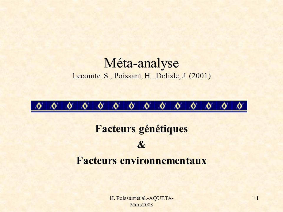 H. Poissant et al.-AQUETA- Mars2003 11 Méta-analyse Lecomte, S., Poissant, H., Delisle, J. (2001) Facteurs génétiques & Facteurs environnementaux