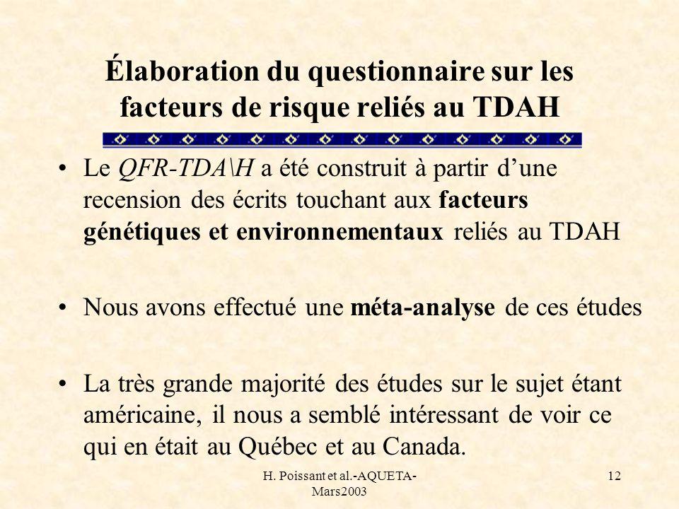 H. Poissant et al.-AQUETA- Mars2003 12 Élaboration du questionnaire sur les facteurs de risque reliés au TDAH Le QFR-TDA\H a été construit à partir du