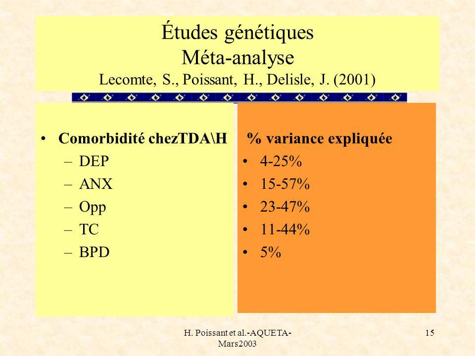 H. Poissant et al.-AQUETA- Mars2003 15 Études génétiques Méta-analyse Lecomte, S., Poissant, H., Delisle, J. (2001) Comorbidité chezTDA\H –DEP –ANX –O
