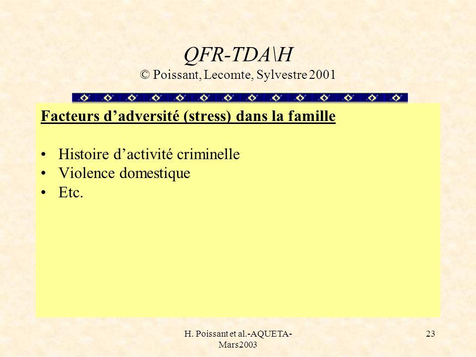 H. Poissant et al.-AQUETA- Mars2003 23 QFR-TDA\H © Poissant, Lecomte, Sylvestre 2001 Facteurs dadversité (stress) dans la famille Histoire dactivité c